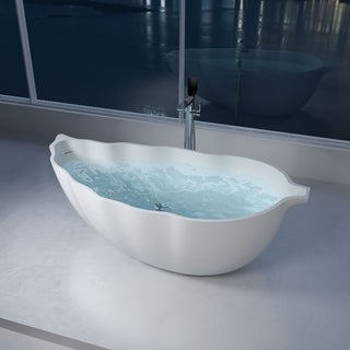 "69""Polystone Leaf Free Standing Bathtub in Glossy or Matte White Finish-No Faucet - N/A"