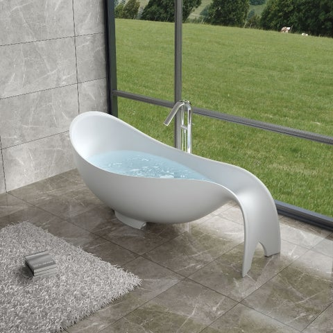 """80""""Polystone Mermaid Free Standing Bathtub in Glossy or Matte White Finish-No Faucet"""