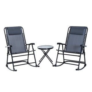 Outsunny Outdoor Rocking Chair Patio Table Seating Set Folding - Grey