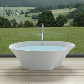 "70""Polystone Pond Free Standing Bathtub in Glossy or Matte White Finish-No Faucet"