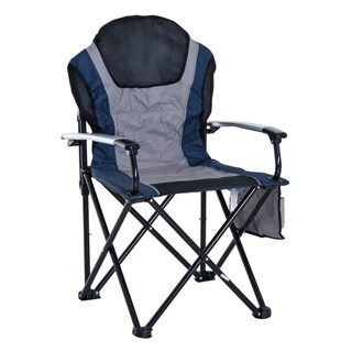 Outsunny Aluminum Outdoor Folding Padded Camping Chair with Side Storage Pocket - Navy Blue