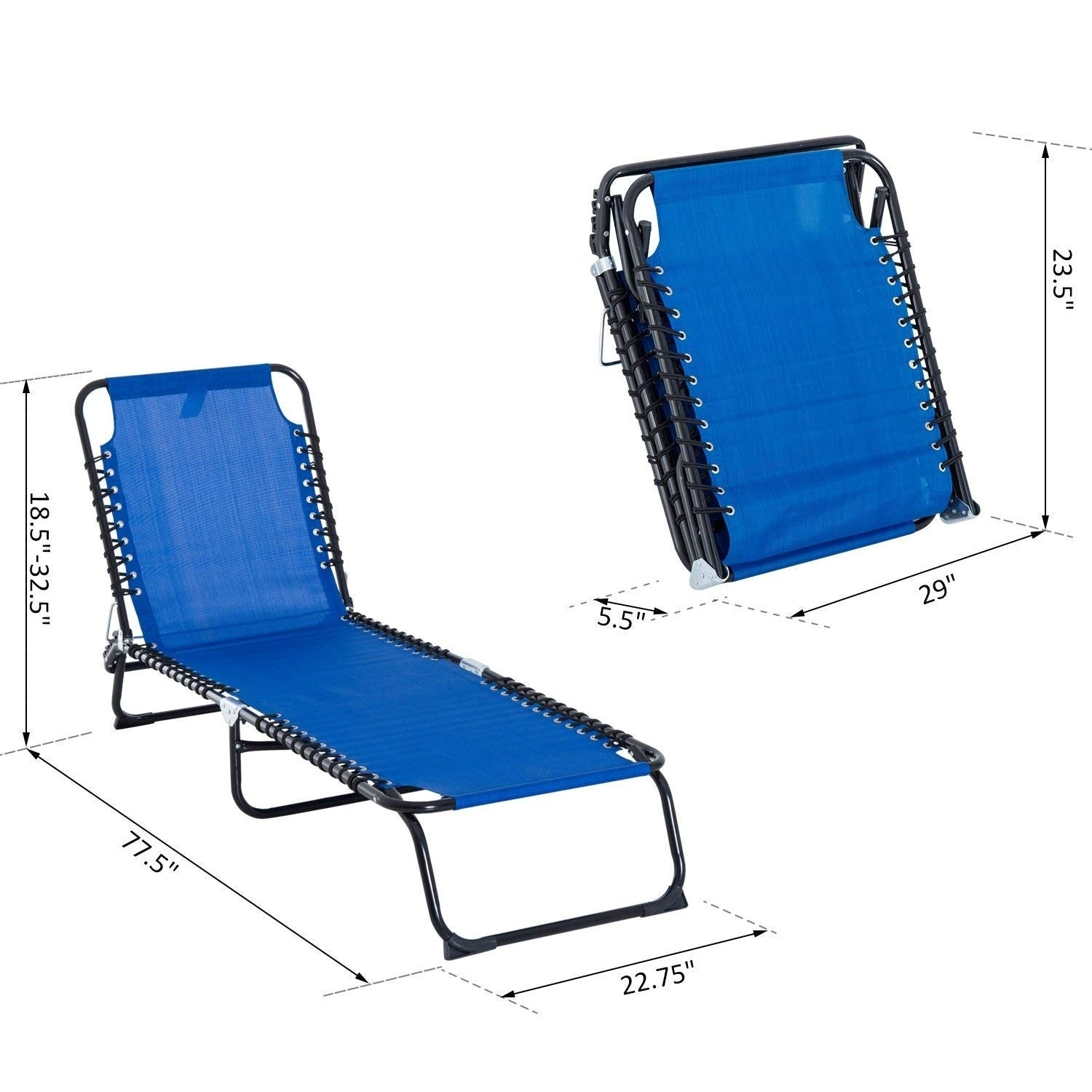 Wondrous Outsunny 3 Position Portable Reclining Beach Chaise Lounge Folding Chair Outdoor Patio Light Blue Cjindustries Chair Design For Home Cjindustriesco