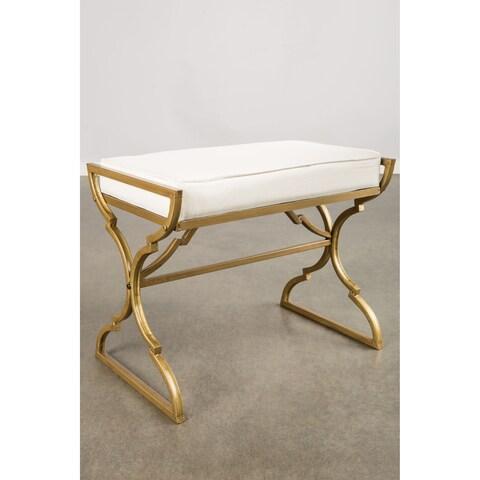 Statements by J Milani Goldtone Metal Beige Upholstered Bench