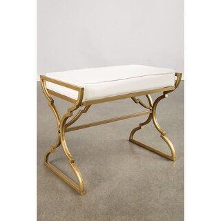 Statements by J Milani Goldtone Metal Beige Upholstered Bench