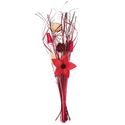 Dried Floral Bouquet (Burgundy) - Red