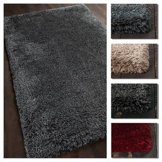 Artist's Loom Edith Collection Hand-Woven Solid Pattern Shag Rug
