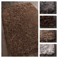 Artist's Loom Carmel Collection Hand-Woven Solid Pattern Shag Rug - 9' x 13'