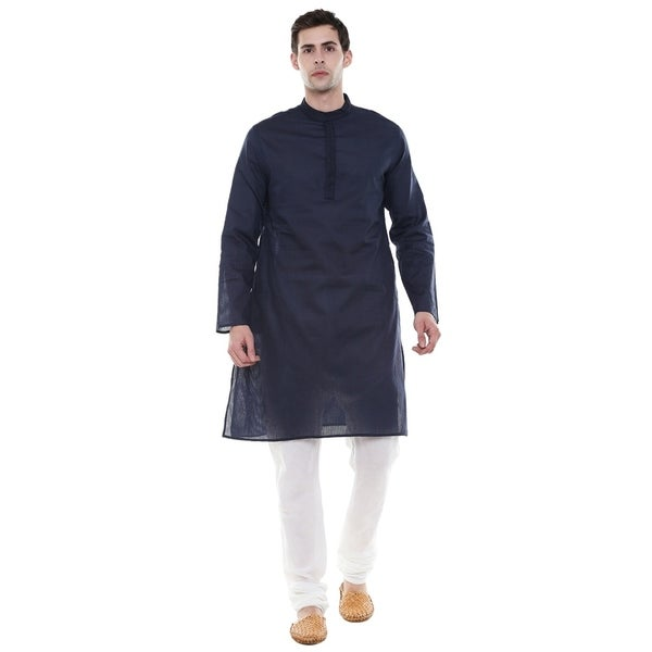 In-Sattva Mens Indian Two-Piece Ensemble Pure Cotton Clothing; Navy; SM