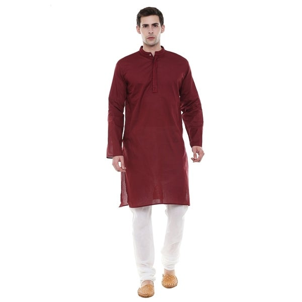 In-Sattva Mens Indian Two-Piece Ensemble Pure Cotton Clothing; Maroon; MD