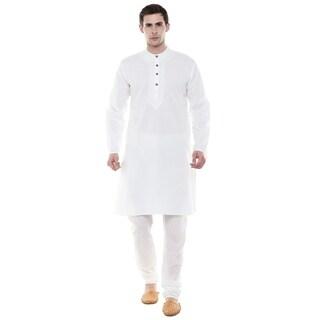 In-Sattva Men's Indian Two-Piece Ensemble White Kurta Pajama Pure Cotton; White; SM