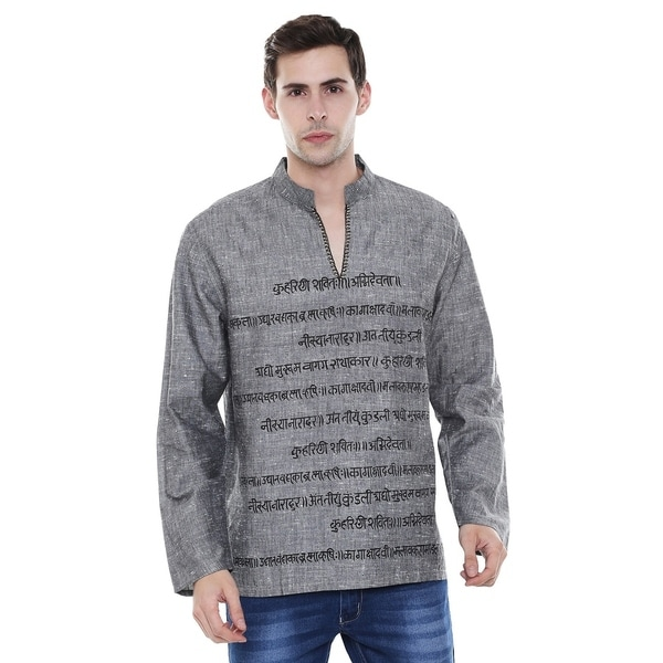 a06ebb48b5c Handmade In-Sattva Men's Sanskrit Mantra Print Positive Vibe Pure  Cotton