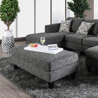 Furniture of America Breckenridge Grey Chenille Ottoman