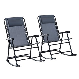 Outsunny Grey Mesh Fabric Outdoor Patio Folding Rocking Chair Set