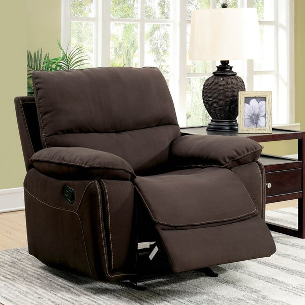 Charmant Furniture Of America Raymond Transitional Dark Brown Fabric Recliner