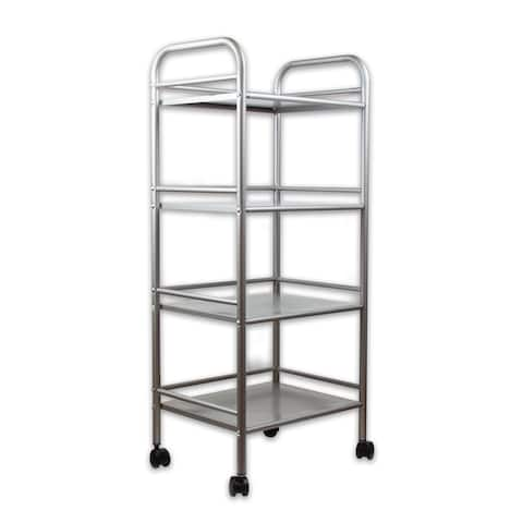 InStyleDesign 4 Tier Steel Rolling Storage Cart - Satin Nickel