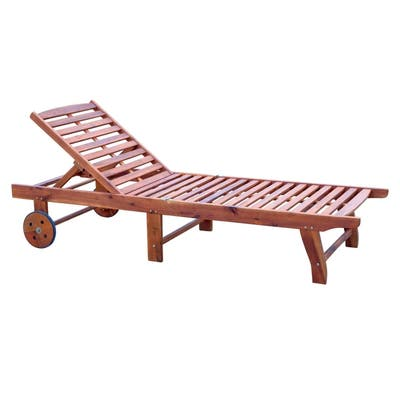 Outsunny Wooden Wood Outdoor Folding Chaise Lounge Chair Recliner with Rolling Wheels - Teak