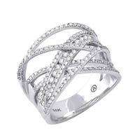 14K White Gold 1ct TDW Diamond Multi-Row Crossover Ring