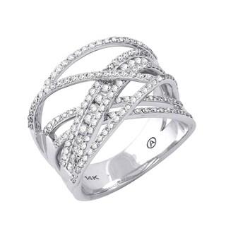 14K White Gold 1ct TDW Diamond Multi-Row Crossover Ring