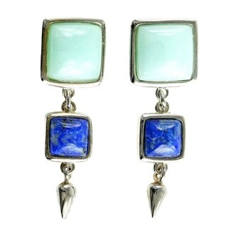 Blue Color Sterling Silver Pendant & Earrings Set in Lapis and Blue Quartzite
