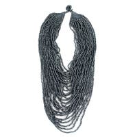Tribal Multi Strand Seed Bead Necklace Hematite Color