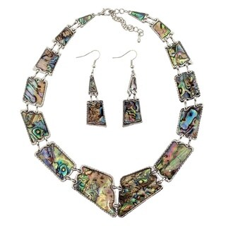 """Natural Abalone Shell Necklace and Dangle Earrings Set, 16"""" to 18"""" Adjustable Chain"""