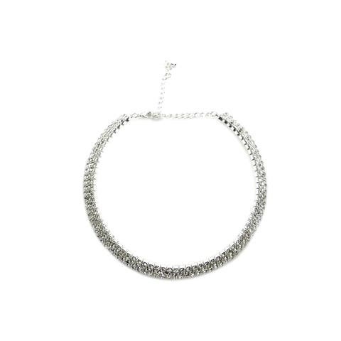 Clear Party Wedding Austrian Choker Rhinestone Necklace - 4 Lines
