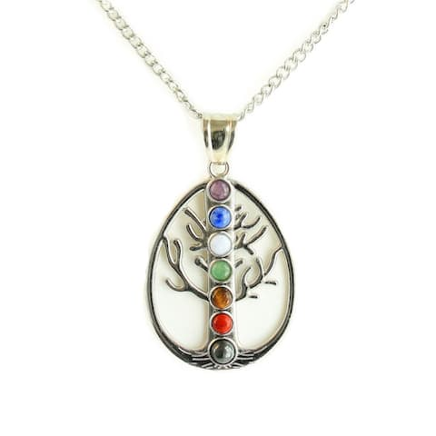 Chakra Tree of Life Pendant Necklace and Stretch Bracelet Set