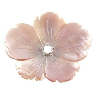 Beautiful Pink Shell Flower Sterling Silver Pendant and Brooch