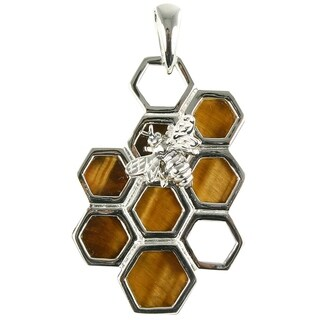 Unique Tiger's Eye Bee on Honeycomb Sterling Silver Pendant