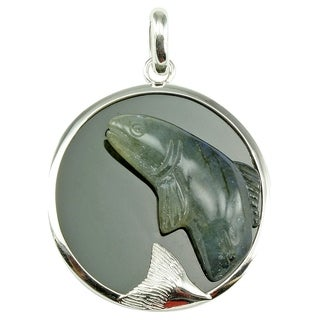Fashiong Black Onyx Pendant Sterling Sivler Handcrafted Labradorite Salmon Pendant