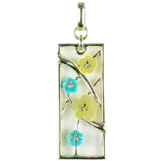 925 Sterling Silver Turquoise Agate Handcrafted Flower Pendant