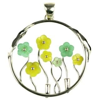 Handcrafted Serpentine and Aventurine Flower Pendant Multi Stones Silver Pendant