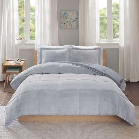 Intelligent Design Miles Reversible Frosted Print Plush to Heathered Micofiber Comforter Set