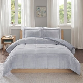 Intelligent Design Miles Reversible Frosted Print Plush to Heathered Micofiber Comforter Set 2-Color Option