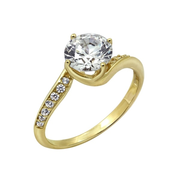 a2709519268daa Shop 10k Gold Round cut 8.00mm Made with Swarovski Zirconia Bypass Ring -  Free Shipping Today - Overstock - 22359310
