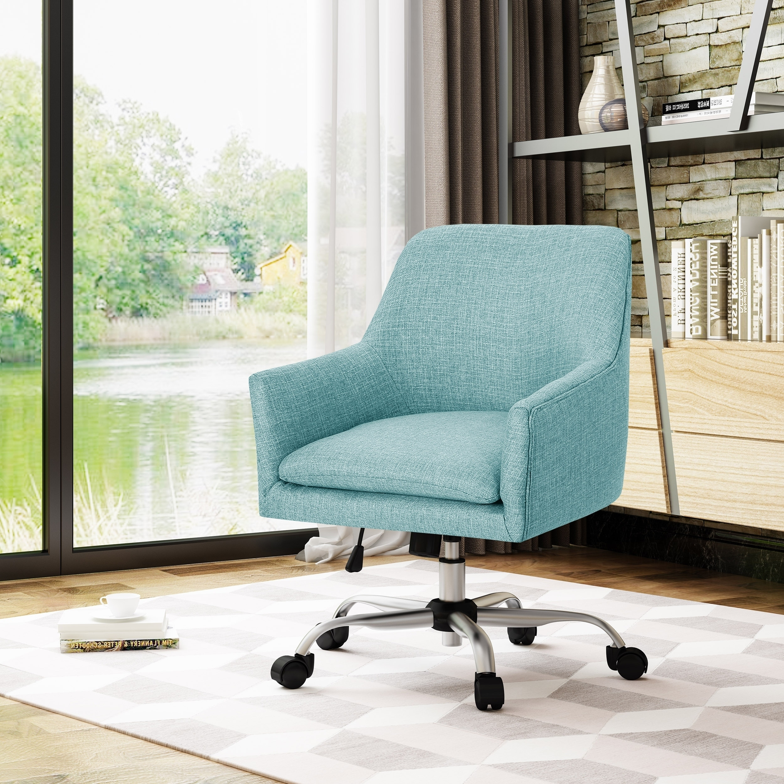 Johnson Mid Century Modern Fabric Home Office Chair with Chrome Base by  Christopher Knight Home