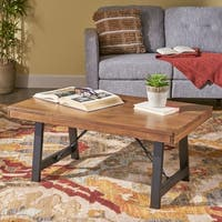 Linnett Rubberwood Farmhouse Coffee Table by Christopher Knight Home