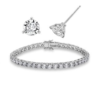 Platinum-Plated Sterling Silver Swarovski Zirconia Solitare Earrings and Tennis Bracelet Jewelry Set