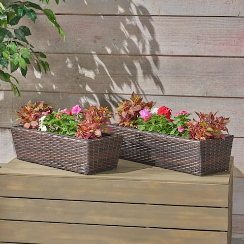 Orrey Wicker Planters, Multi Brown Finish (Set of 2) by Christopher Knight Home