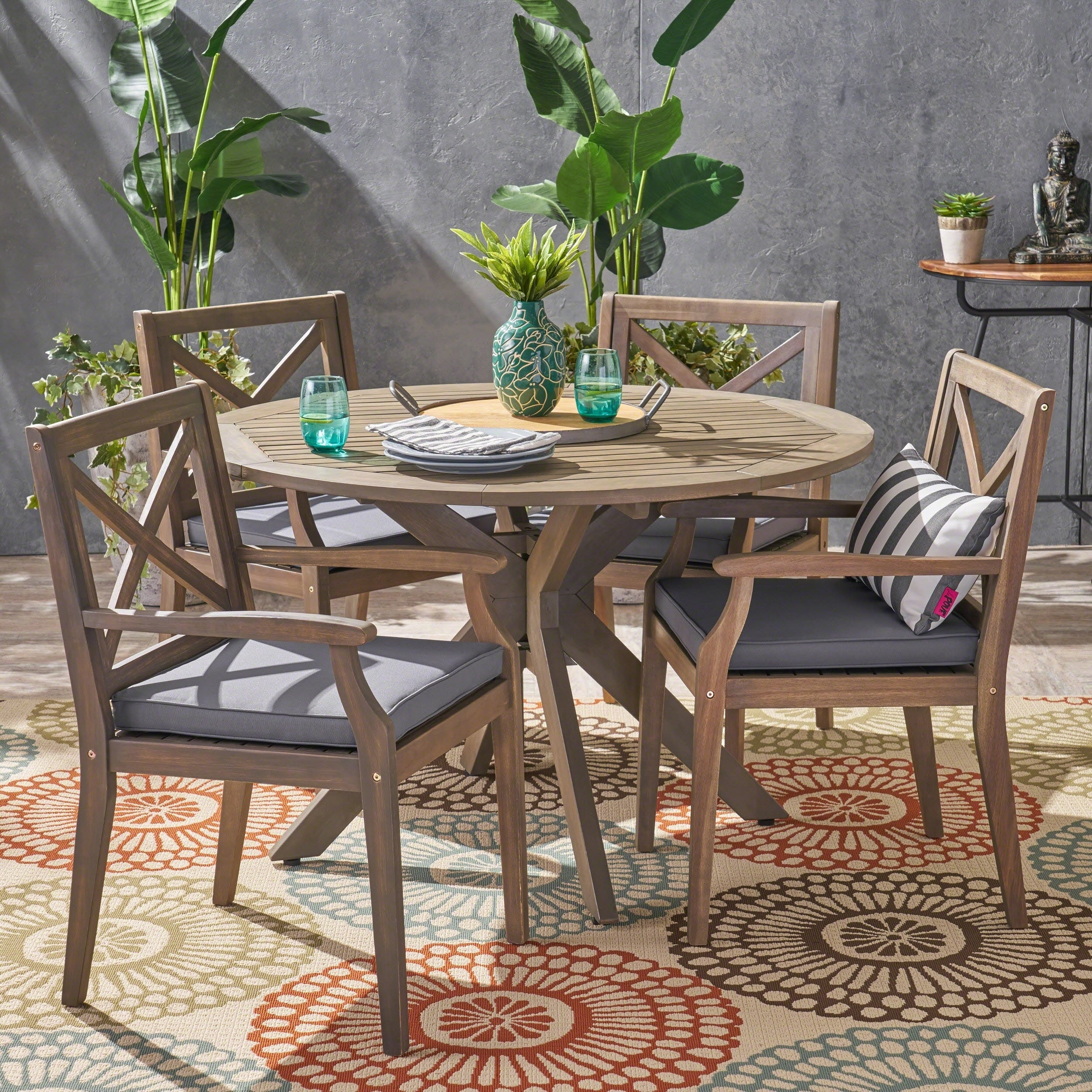 Llano Outdoor 5 Piece Acacia Wood Dining Set By Christopher Knight Home Overstock 22361673