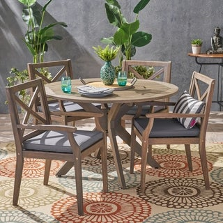 Llano Outdoor 5 Piece Acacia Wood Dining Set by Christopher Knight Home