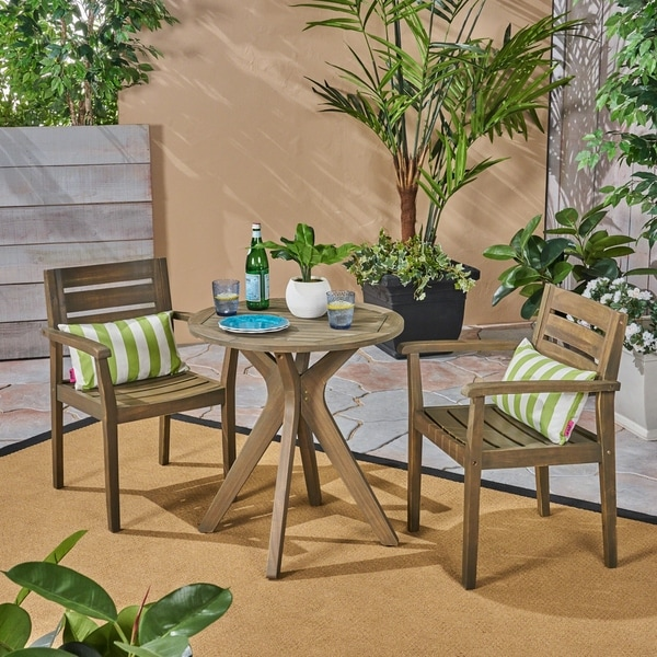 Stamford Outdoor 5 Piece Acacia Wood Dining Set wit Straight Legged Dining Table by Christopher Knight Home