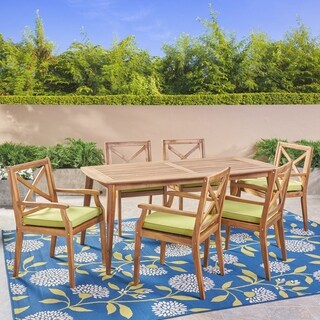 Llano Outdoor 7 Piece Acacia Wood Dining Set by Christopher Knight Home