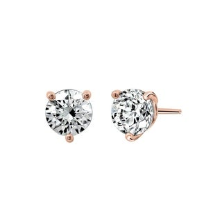 Prong-set Swarovski Zirconia Stud Earrings, Rose Gold Plated Sterling Silver (2 cttw)