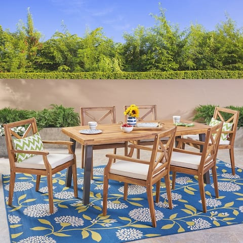 Juniper Outdoor 7 Piece Acacia Wood Dining Set by Christopher Knight Home