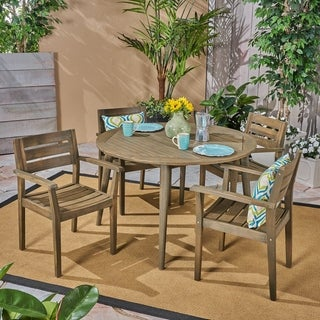 Stamford Outdoor 5 Piece Acacia Wood Dining Set with Straight Legged Dining Table by Christopher Knight Home