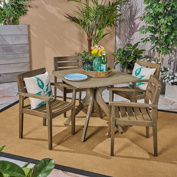 Stamford Outdoor 5 Piece Acacia Wood Dining Set With Cross Legged Table By Christopher Knight