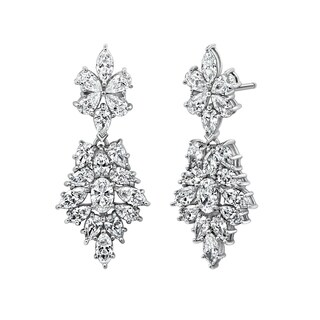 Platinum Clad Oval and Pear - Shaped Swarovski Zirconia flower fashion Drop Earrings (9.6 cttw)