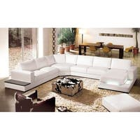 Nelson House White Leather 4-piece Sectional