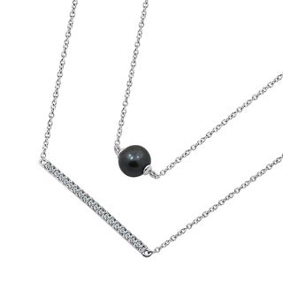 Platinum Clad Swarovski Zirconia And Natural Tahitian Pearl Bar Pendant Necklace (2 options available)